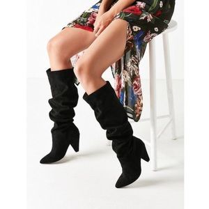 Urban Outfitters Tess Faux Suede Scrunch Knee Boot